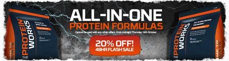 20% korting op alles-in-één proteïne