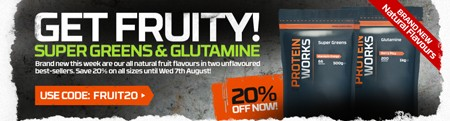 GET FRUITY! - 20 % RABAT PÅ SMAGSTILSATTE SUPER GREENS OG GLUTAMIN!